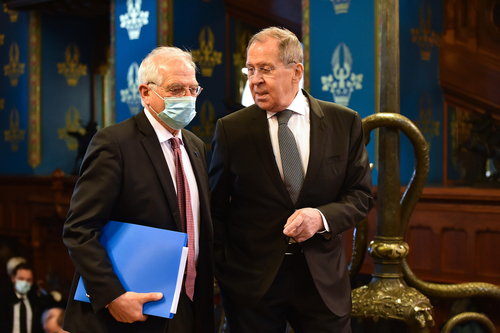 Josep Borrell, the EU's High Representative for Foreign Affairs and Security Policy, and Sergei Lavrov, Russia's Foreign Minister, Friday in Moscow.