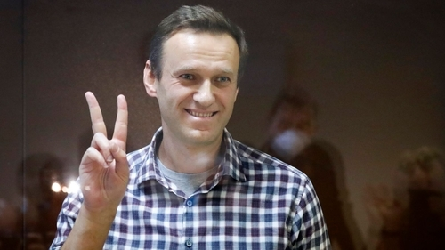 Alexei Navalny in a Moscow courtroom on February 20.
