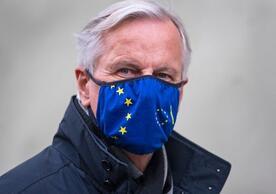 Michel Barnier, the EU's chief negotiator, arriving Wednesday to brief EU ambassadors and MEPs on the EU-UK negotiation.