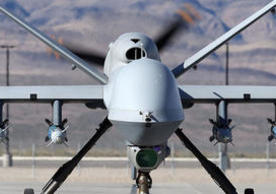An MQ-9 Reaper remotely piloted aircraft at Creech Air Force Base in Indian Springs, Nevada. Photo: Isaac Brekken/Getty Images.