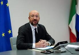 European Council President Charles Michel in today's video conference