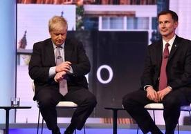 Johnson and Hunt at Tuesday's BBC debate.