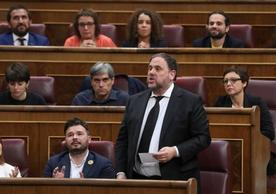 Oriol Junqueras, president of the Republican Left of Catalonia, speaking in the Congress of Deputies, May 2019.