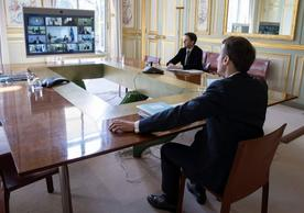 French President Emmanuel Macron participating from the Elysée in yesterday's European Council video conference.