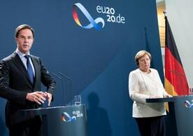 Dutch Prime Minister Mark Rutte and German Chancellor Angela Merkel after discussing the recovery plan in Berlin on July 9.