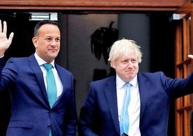Irish Taoiseach Leo Varadkar and British Prime Minister Boris Johnson after their meeting in Dublin yesterday.