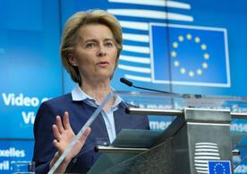 European Commission President Ursula von der Leyen raising possibility of infringement procedure against Germany, May 2020.