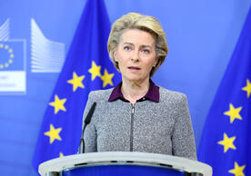 European Commission President Ursula von der Leyen announcing Phil Hogan's resignation as trade commissioner.