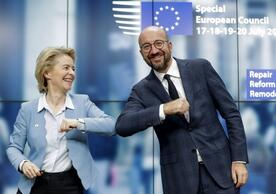 European Commission President Ursula von der Leyen and European Council President Charles Michel after Tuesday's agreement on recovery plan and MFF.