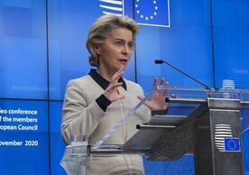 European Commission President Ursula von der Leyen speaking in Brussels after yesterday's European Council videoconference.