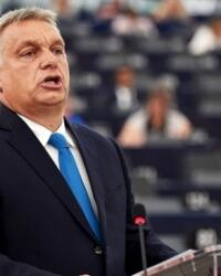 Hungarian Prime Minister Viktor Orbán speaking to the European Parliament last Tuesday.