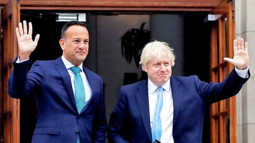 Irish Taoiseach Leo Varadkar and British Prime Minister Boris Johnson after their meeting in Dublin yesterday.